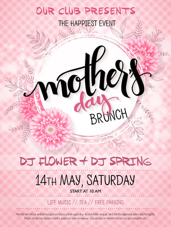 A vector hand drawn mothers day event poster with blooming chrysanthemum flowers hand lettering text - mothers day and luminosity flares on checkered background Illustration