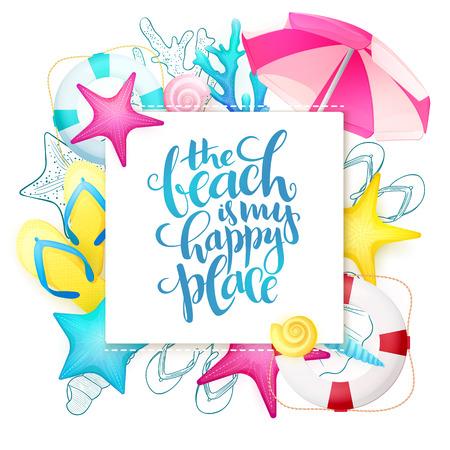 Vector Hand Schriftzug Sommer Phrase auf Papier Blatt mit detaillierten flachen und doodle Seashells, Sonnenschirm, Flip-Flops, Korallen und Rettungsring umgeben Standard-Bild - 76781130