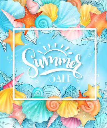 Vektor-Illustration von Handbeschriftung Text - Sommerschlussverkauf - mit Rahmen und Muscheln auf Meerwasser Hintergrund Standard-Bild - 76781175