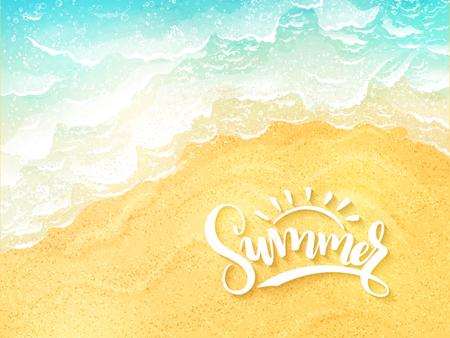 벡터 손으로 레터링 여름 영감을 레이블 - 여름 - 상위 뷰 바다 서핑 배경 일러스트