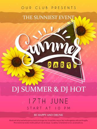 벡터 일러스트 레이 션의 여름 파티 포스터 삼각형 프레임 및 해바라기와 손 글자 텍스트 - 여름