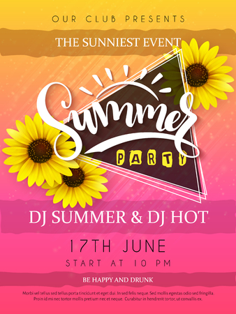 vector illustration of summer party poster with triangular frame and sunflower and hand lettering text - summer