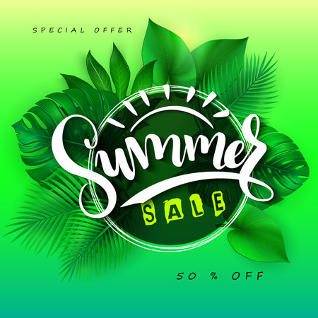 vector illustration of sale banner with hand lettering text, triangle frame and tropical leaves - monstera , palm, aralia.
