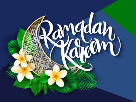 vector illustration of hand lettering greetings text - ramadan kareem with plumeria flower, aralia leaves and arabic styled half-moon.