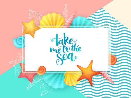 cockleshell: vector hand lettering summer phrase - take me to the sea - surrounded with seashells.