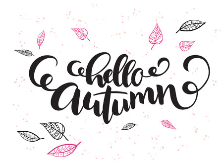 fall leaves: A vector hand lettering text about autumn with doodle leaves and dots illustration. Illustration