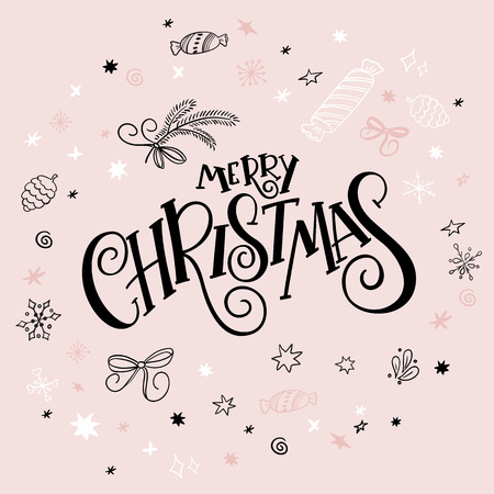 christmas gift: Vector illustration of christmas greeting card with hand lettering label - merry christmas - with doodle decorative elements, sparkles, stars and snowflakes.