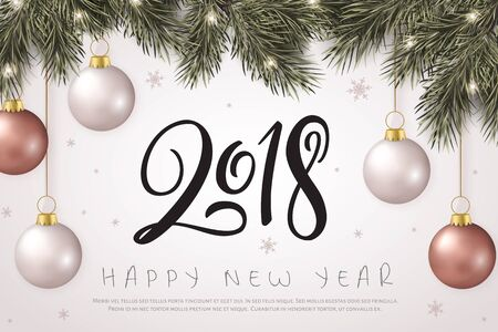 Vector illustration of new year party greetings card with hand lettering number - 2018 - with hanging on fir-tree branches christmas baubles, stars and snowflakes
