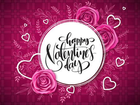 vector valentine's day grettings lettering with doodle branches, hearts, and roses on the checkered background. Design for greeting card or poster.
