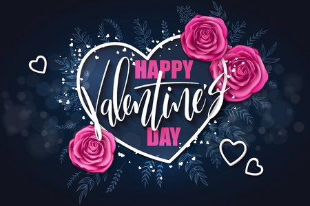 vector valentines day grettings lettering with doodle branches, hearts, roses. Design for greeting card or poster Illustration