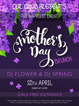Vector hand drawn mothers day event poster with hand lettering text - mothers day and lilac flowers and doodle branches.