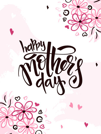 Vector illustration of hand lettering - happy mothers day with doodle flower branches. Vettoriali