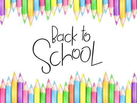 Illustrazione vettoriale con modello di progettazione per il banner di evento di ritorno a scuola con matite e testo di iscrizione a mano di ritorno a scuola