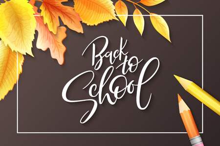 Vector illustration with design template for Back to school event banner with pencils, detailed bright autumn leaves and Back to School hand lettering label