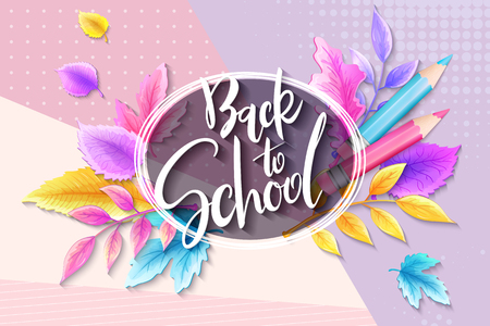 Vector illustration with design template for Back to school event banner with pencils, detailed bright autumn leaves and Back to School hand lettering label. Vettoriali