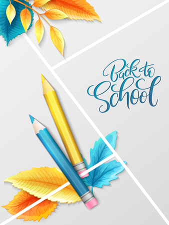 Vector illustration with design template for Back to school event banner with pencils, detailed bright autumn leaves and Back to School hand lettering label. Illustration