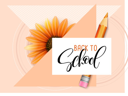 Vector illustration with design template for Back to school event banner with pencils, detailed bright autumn flower, geometric shapes and Back to School hand lettering label.