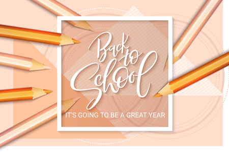 Vector illustration with design template for Back to school event banner with realistic pencils, geometric shapes and Back to School hand lettering label. Vettoriali