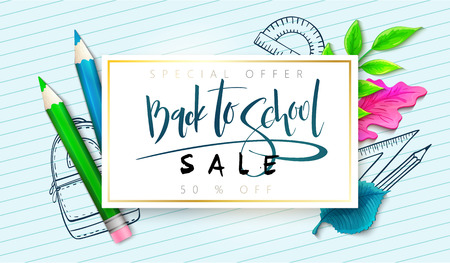 Vector illustration with design template for Back to school event banner with realistic pencils and detailed bright leaves, doodle stationery and Back to School hand lettering label