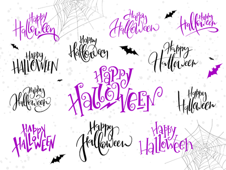 vector holiday happy halloween hand lettering label set written in various style with bats, spider web and dots.