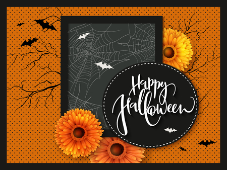 Vector illustration with design template for halloween event banner with detailed bright gerberas, spider web and happy halloween hand lettering label. Ilustracja