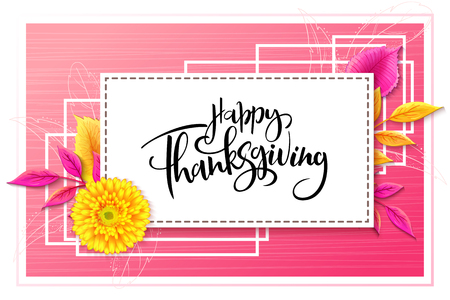 Vector greeting thanksgiving banner with hand lettering label - happy thanksgiving - with bright autumn leaves and doodle pumpkin, leaves and feathers.