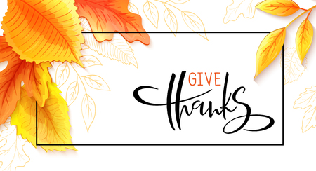 Vector greeting thanksgiving banner with hand lettering label - give thanks - with bright autumn leaves and doodle leaves