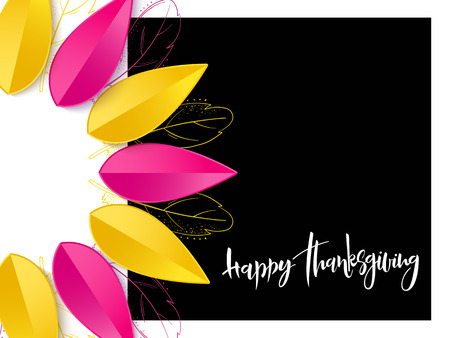 Vector greeting thanksgiving banner with hand lettering label - happy thanksgiving - with bright autumn paper leaves and doodle feathers.