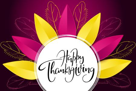 Vector groet thanksgiving banner met hand belettering label - happy thanksgiving - met heldere herfst papieren bladeren en doodle veren.