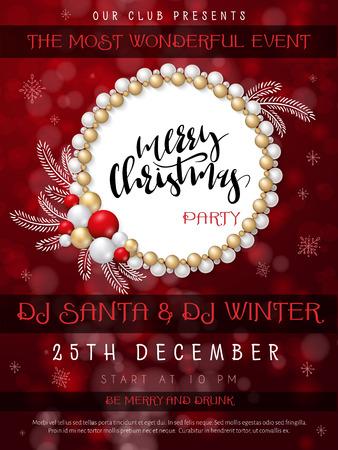Vektorillustration des Weihnachtsfeierplakats mit Handbeschriftungsaufkleber - frohe Weihnachten - mit Perlen, Kugeln, Schneeflocken und Gekritzelfichtenzweigen Vektorgrafik