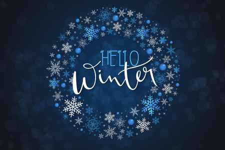 Vector illustration of winter banner template with hand lettering label - hello, winter - with circle of snowflakes.