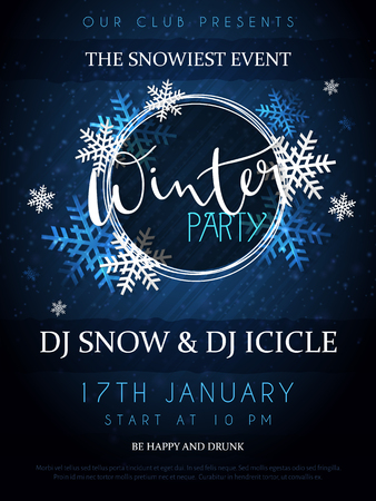 Vector illustration of winter party poster with hand lettering label - winter - with snowflakes.