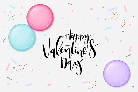Vector illustration of valentine's day greetings card template with hand lettering label - happy valentine's day - with macaroons.