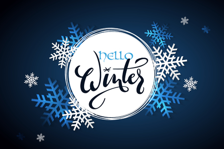 Vector illustration of winter banner template with hand lettering label - hello, winter - with snowflakes. Illustration