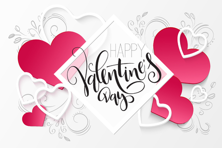 Vector illustration of valentines day greetings card template with hand lettering label - happy valentines day - with a lot of heart shapes and doodle flowers.