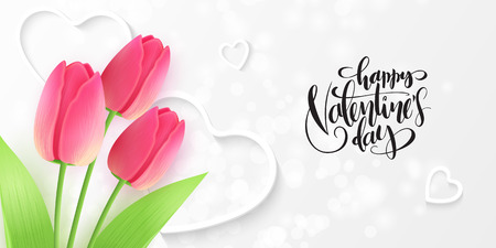 Vector illustration of valentine's day greetings card template with hand lettering label - happy valentine's day - with tulips flower and heart shapes. Ilustracja