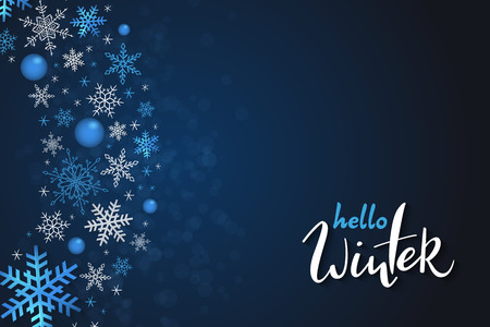 Vector illustration of winter banner template with hand lettering label - hello, winter - with snowflakes. Ilustracja