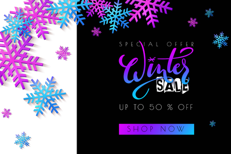 Vector illustration of sale promotion banner template with hand lettering label - winter - with snowflakes.