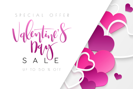 Vector illustration of valentine's day promotion banner template with hand lettering label - valentine's day - with a lot of heart shapes.
