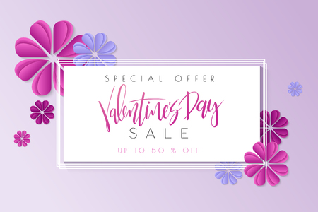 Vector illustration of valentines day greetings card template with hand lettering label - happy valentines day - with paper origami flowers. Illustration