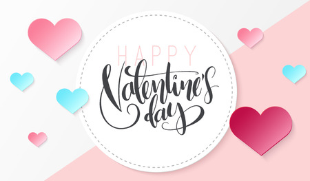 Vector illustration of valentine's day greetings card template with hand lettering label - happy valentine's day - with a lot of heart shapes.