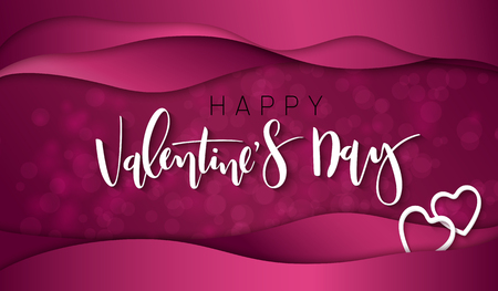 Vector illustration of valentine's day greetings card template with hand lettering label - happy valentine's day - with waves and flare . Illustration