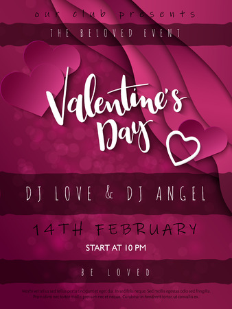 Vector illustration of valentine's day party poster template with hand lettering label - happy valentine's day - with waves, heart shapes and flare.