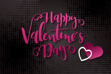 Vector illustration of valentine's day greetings card template with hand lettering label - happy valentine's day - with paper heart shapes on halftone background.