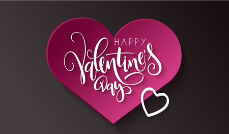 Vector illustration of valentine's day greetings card template with hand lettering label - happy valentine's day - with paper heart shapes.