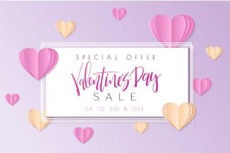 Vector illustration of valentine's day promotion banner template with hand lettering label - valentine's day - with paper heart shapes.