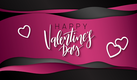 Vector illustration of valentine's day greetings card template with hand lettering label - happy valentine's day - with waves and heart shapes.