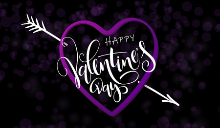 Vector illustration of valentine's day greetings card template with hand lettering label - happy valentine's day - with heart shape and arrow.