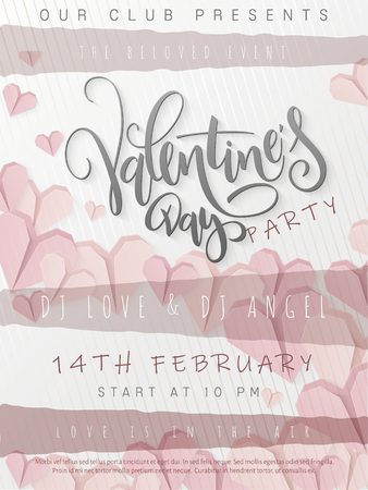 Vector illustration of valentine's day party poster template with hand lettering label - happy valentine's day - with paper origami heart shapes. Ilustracja