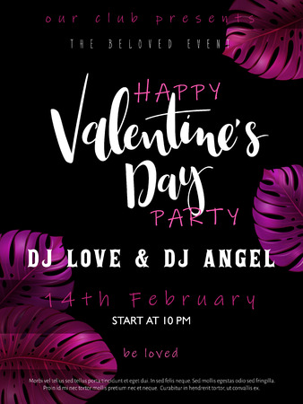 Vector illustration of valentine's day party poster template with hand lettering label - happy valentine's day - with purple monstera leaves.